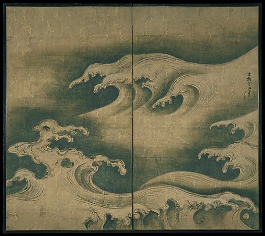 Rough Waves  Ogata Kôrin  (Japanese, 1658–1716)  Period: Edo period (1615–1868) Date: ca. 1704–9 Culture: Japan Medium: Two-panel folding screen; ink, color, and gold on gilt paper