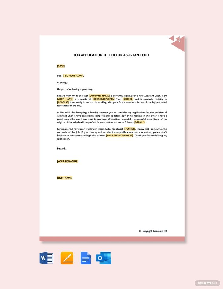 Free job application letter for assistant chef template