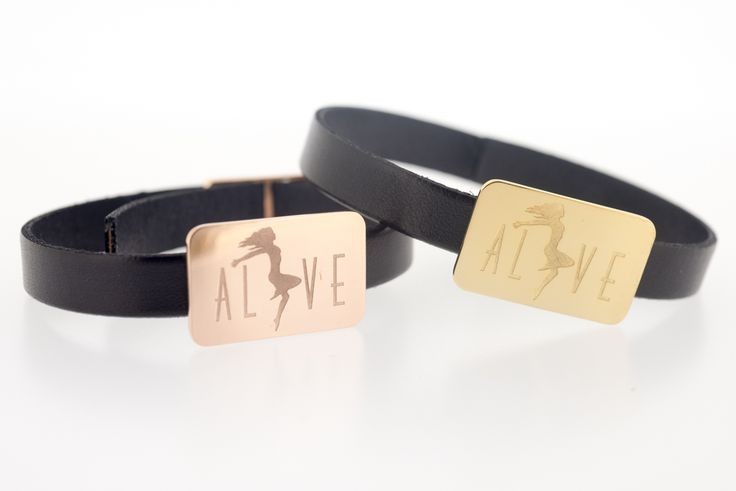 ALIVE By THE BRITELINE  -  ID Bracelets in gold plated bronze and leather
