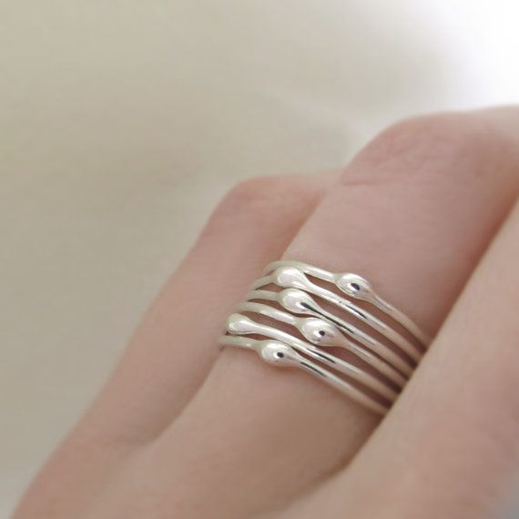 Stacking Ring Set in Sterling Silver- Rain - Set of Six - Droplet Rings