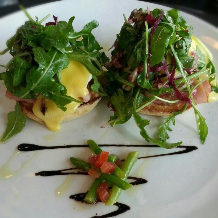 Egg Benedict. Oozing with hollandaise sauce