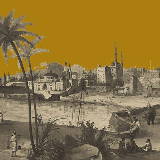 Paysages sépia - Bénarès sépia bichromie moutarde 500x330cm - ultra mat