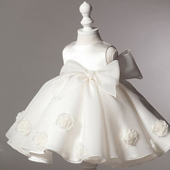 Baby Girl Baptism Dress white organza and flowers by shizheoflove