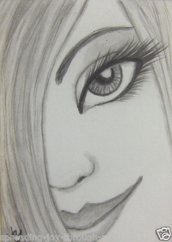 Aceo atc original pencil drawing beautiful sexy girl woman face smile cute
