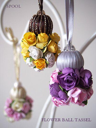 Inspiracion zarcillos. DIY con flores de papel y cuentas forradas en cinta o cuentas de tela.