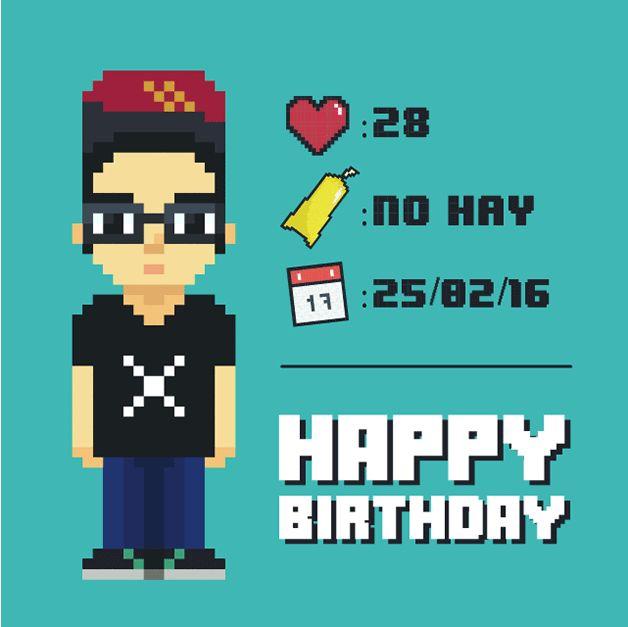 Nina González  https://www.instagram.com/p/BCNvP7gP1d_/?taken-by=nina.minina  #Birthday #Gif #8Bit #Pixel #Boy #Gamer #BirthdayGift