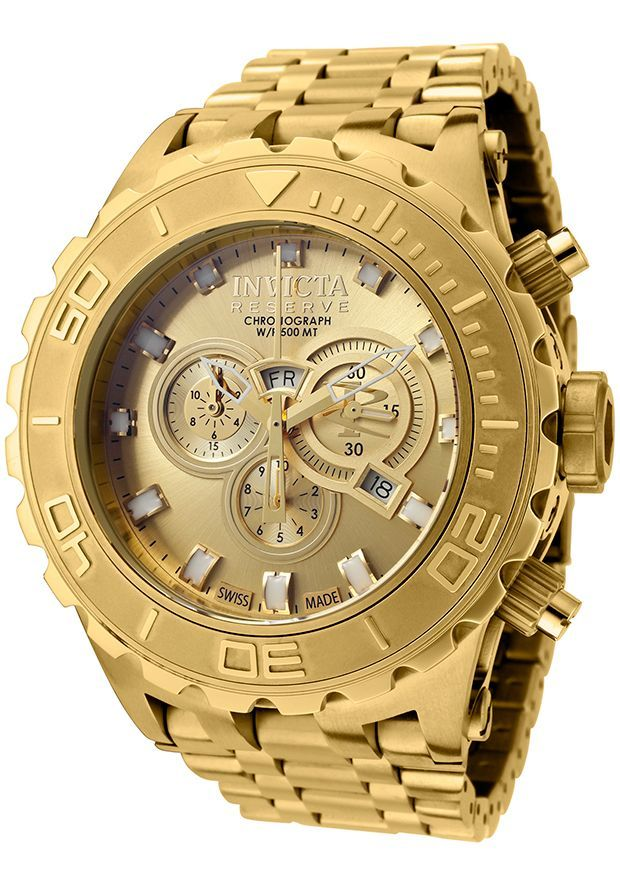 INVICTA Men's Subaqua Chronograph 18K Gold Plated Steel Gold-Tone Dial Big