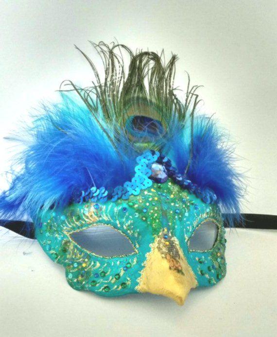 Black Feather Mardi Gras Masquerade Bird Fancy Dress Mask Green