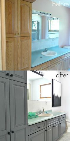 This is an incredible budget friendly bathroom makeover! Nothing was replaced - the hardware, cabinets, light, even tile were all painted!  Great review of Rust-Oleum cabinet transformations kit and tile transformations kit included.