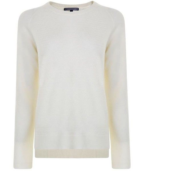 Tommy Hilfiger Knitted Jumper ($40) ❤ liked on Polyvore featuring tops, sweaters, snow white, long sleeve crew neck sweater, white jumper, tommy hilfiger sweater, long sleeve sweater and long sleeve jumper