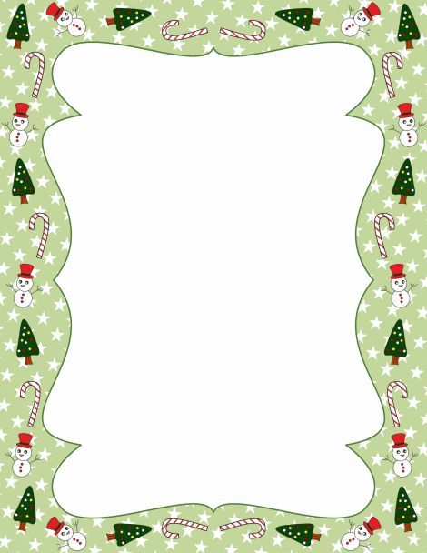 Christmas page border with candy canes, snowmen, and Christmas trees. Free downloads available at http://pageborders.org/download/christmas-border/