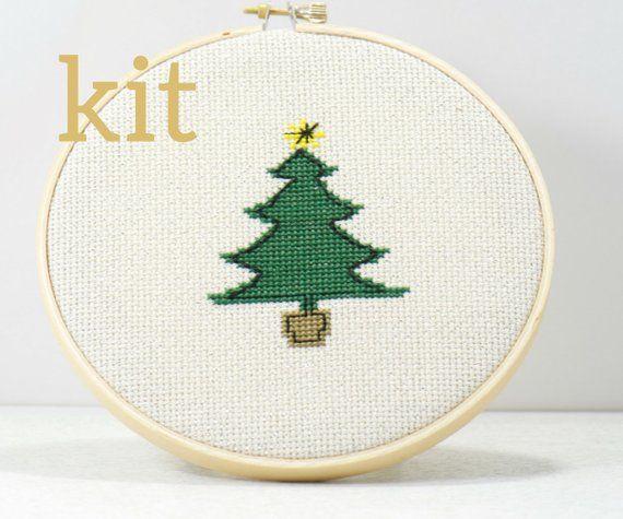 Christmas Embroidery Kit Tree Cross Stitch Diy Craft Kit Etsy In 2020 Hand Embroidery Kit Cross Stitch Tree Embroidery Kits