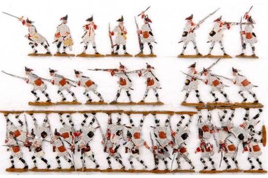 Österreich um 1760, Grenadiere im Gefecht, Kieler Zinnfiguren, Kilia-Originalbemalung mit deutlic