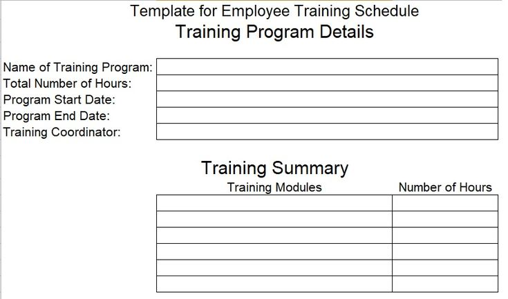 Employee Training Schedule Template Company Templates