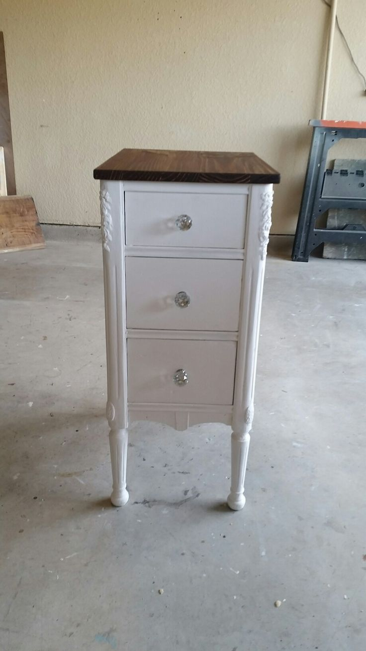 Completed very vintage and very heavy small three - drawer table / nightstand.  New paint, new knobs, new top. Love it!