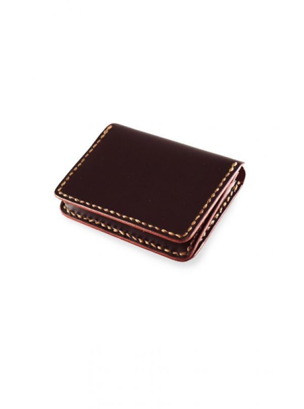 Leather Fine Card Case   Original Made By: • Dark Burgundy Leather (Exterior & Interior) • Burnished Edge • Artificial Cow Tendon Thread • 3.6
