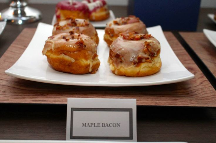 Maple Bacon donuts from Suzy Q Donuts, Ottawa. Masculine Birthday Dessert table.
