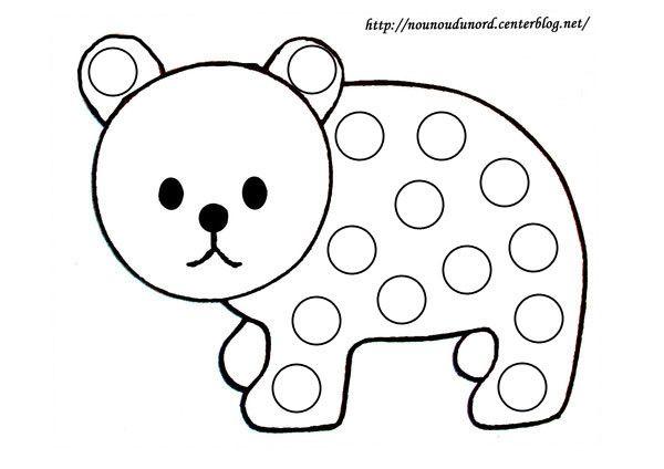 Coloriage à gommettes l'ours dessiné par nounoudunord.