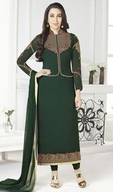 Karisma Kapoor Green Color Shaded Georgette Suit #bollywoodsuits2015 #bollwoodanarkalisuits Immerse into the feeling of luxury like Karisma Kapoor draped in this green color shaded georgette suit. The enticing lace and resham work a significant element of this attire. USD $ 89 (Around £ 61 & Euro 68)