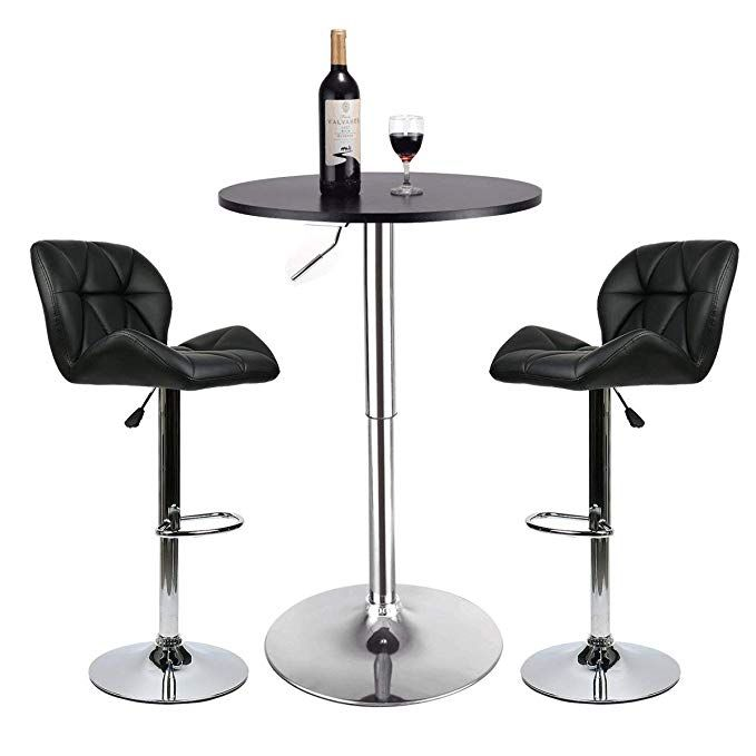 Pub Table Set 3 Piece 24 Inch Round Table With 2 Leatherette Chairs Height Adjustable Black Barstools Black Pub Bar Table Sets Pub Table Sets Pub Stools