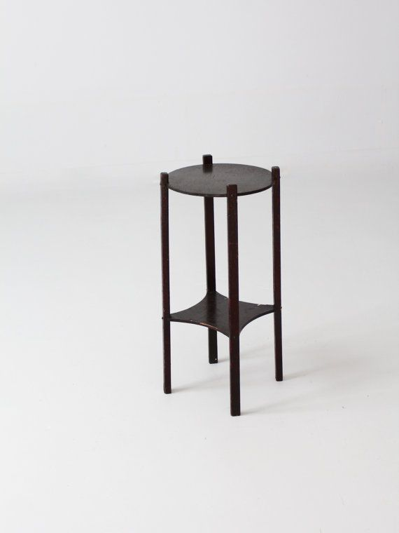 vintage wood plant stand small end table by 86home on Etsy