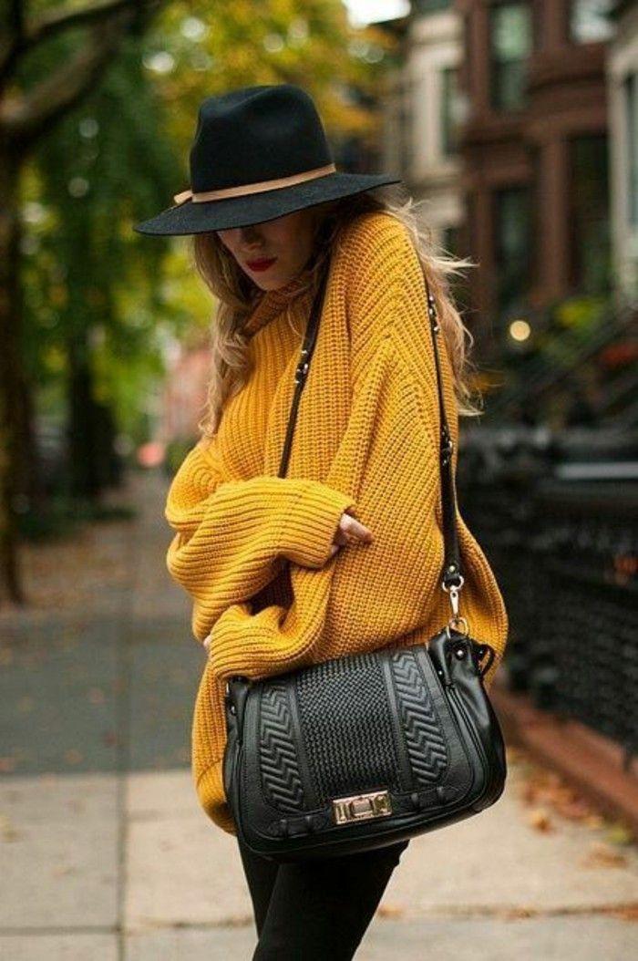 Filzhüte schwarz elegant design damen mode gelb pullover