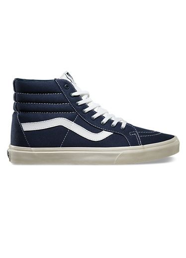 Navy blue canvas Vans just scream California, and that's where most of the country wants to be during these midwinter doldrums. 10 oz. canvas Sk8-hi reissue ($60) by Vans, vans.com