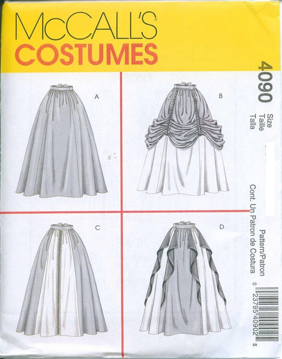 McCalls 4090 Medieval Renaissance Skirts Sewing Pattern Costume Sizes 6-8-10-12 Lots of Options. $5.00, via Etsy.