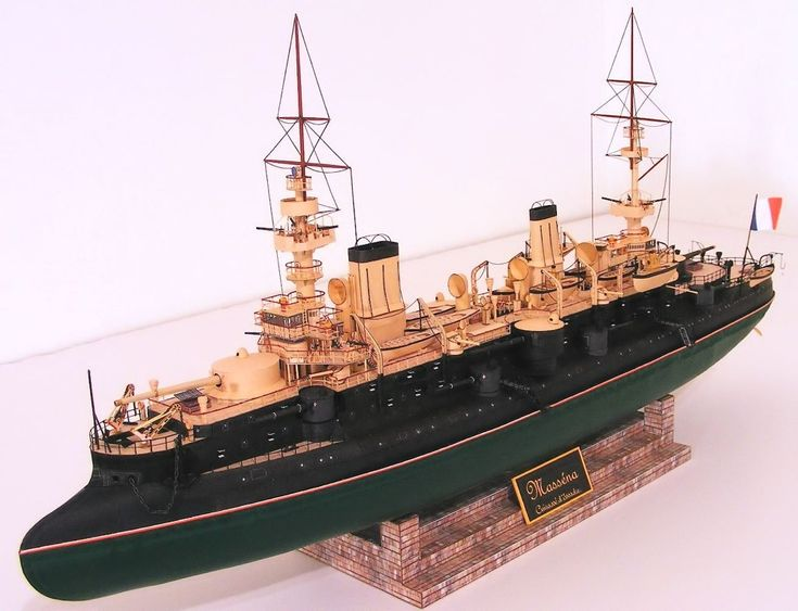 French battleship Masséna 1898 1:250 cardboard model