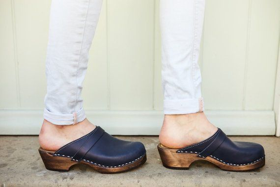 NEW Swedish Clogs Crossover Black Leather on Brown Base by Lotta from Stockholm  Wooden Clogs  High Heel Shoes  Summer  Clogs  Sweden