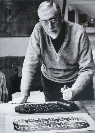 """M. C. Escher-""""Only those who attempt the absurd will achieve the impossible....""""  1898-1972"""