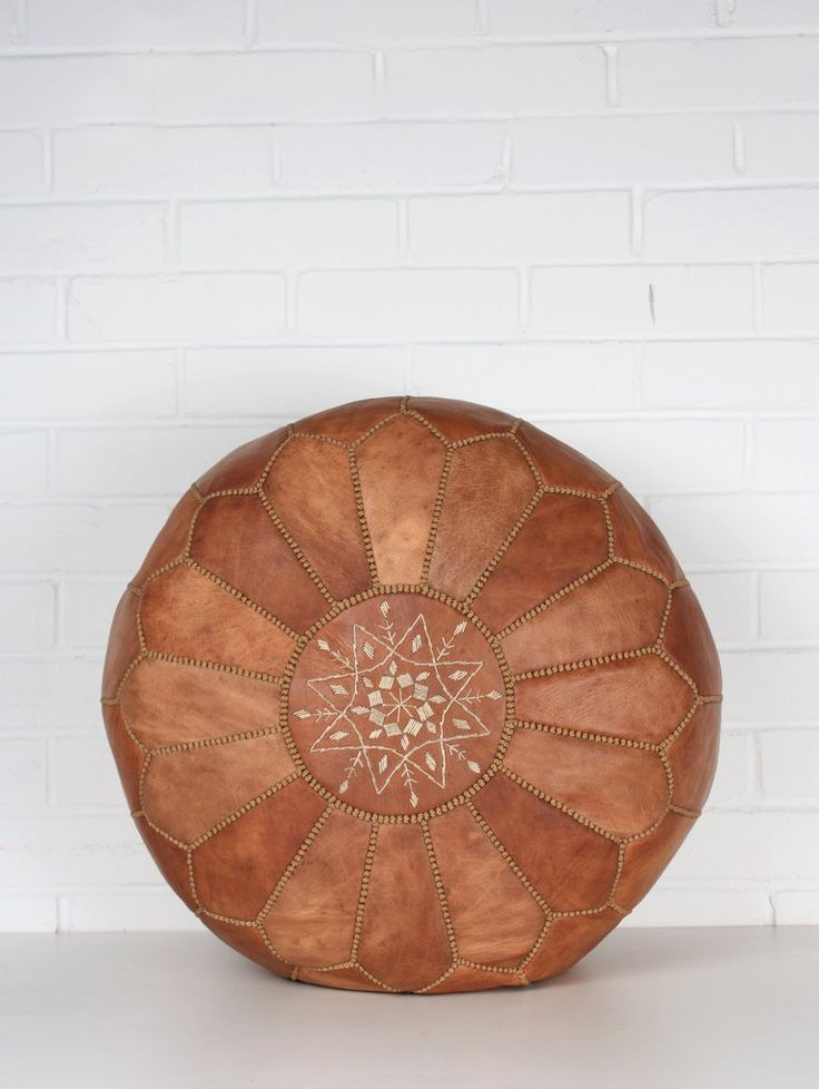 Moroccan Leather Pouffe, Tan #category:Moroccan-Pouffes #colour:brown…