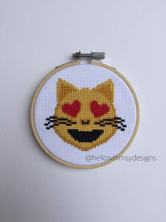 Emoji Cat with Heart Eyes Cross Stitch by HelloWhimsyDesigns