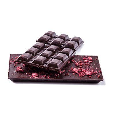 dark chocolate with raspberries