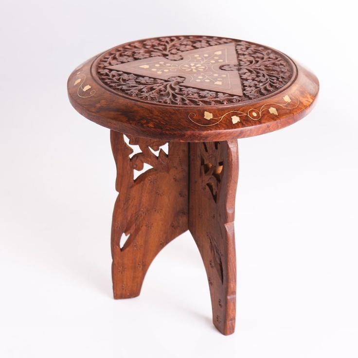 Ethnic Wooden Designer Stool - Matrimony Gifts