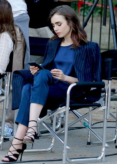 Lily Collins filming a commercial for Lancôme in Barcelona, Spain on June, 12.