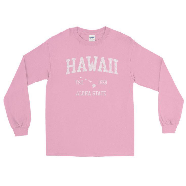 Vintage Hawaii HI Adult Long Sleeve T-Shirt (Unisex)