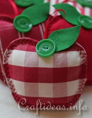 Fabric apples.   Look cute hanging in a group.  Also a great gift for teachers.