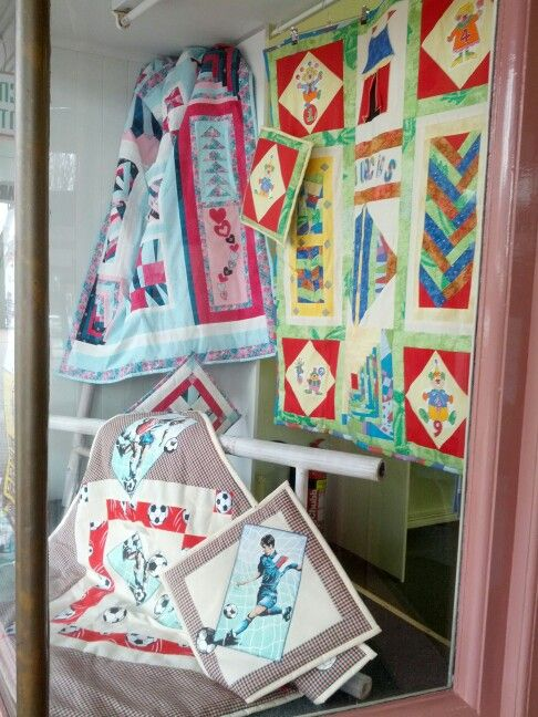The latest quilts on show in a local store for sale