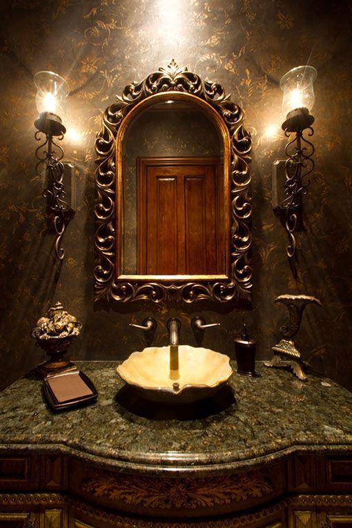 Old World Powder Room | Woodland Design Matters   ᘡղbᘠ
