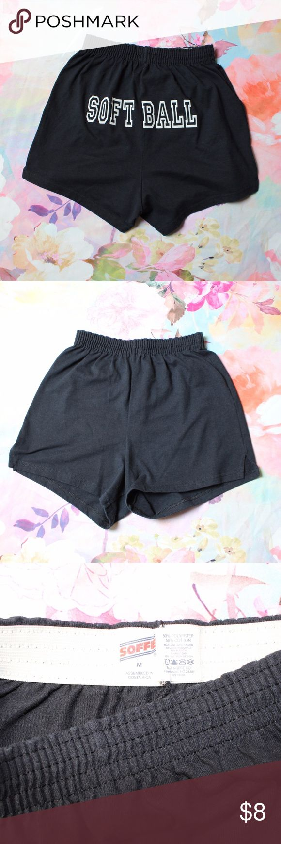 Black & White Softball Soffe Shorts Excellent gently loved condition. No holes, stains, tears or other flaws.   My bundle discount is 15% off 2+!!  Feel free to ask any questions, additional measurements or photos.  Please submit offers through the offer button. Soffe Shorts