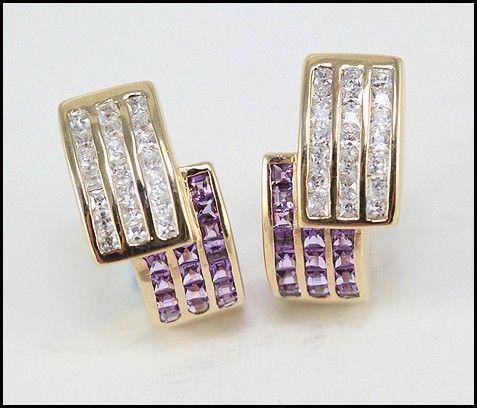 Solid 9ct Amethyst Simulated Diamond Huggie Earrings