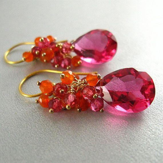 Pink Gemstone Quartz  Pink Topaz and Carnelian Gold by SurfAndSand, $64.00
