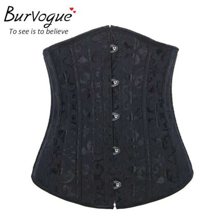 Burvogueスチール骨フローラアンダーバストコルセット女性痩身コルセットビスチェウエスト制御corseletsレースアップウエストトレーナーxs-6xl
