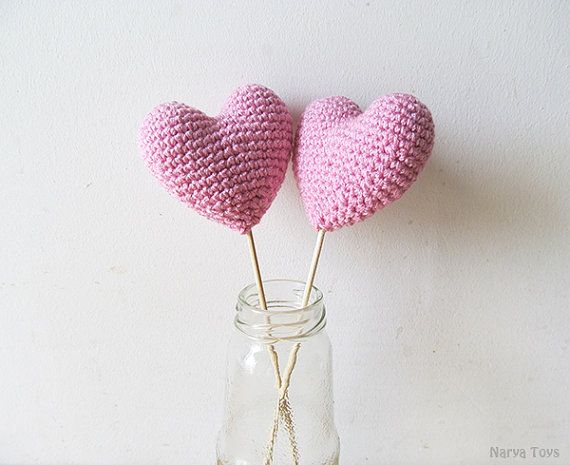 Amigurumi Crochet Dream Pink Heart Set of 2 by naryatoys on Etsy