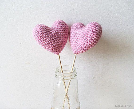 Amigurumi Crochet Dream Pink Heart Set of 2 by naryatoys on Etsy