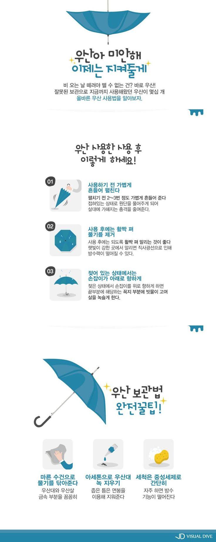 우산을 관리하는 올바른 방법 [인포그래픽] #umbrella / #Infographic ⓒ 비주얼다이브 무단 복사·전재·재배포 금지