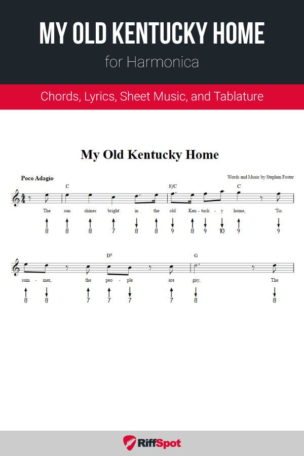 My Old Kentucky Home for Harmonica in 2020 | Sheet music