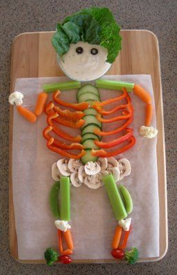 "Vegetable Skeleton - the boys made these last night.  The ""experts"" say that if you get your children in the kitchen they will be more willing to eat what is prepared.  So they peeled, chopped, sliced , julienned & wouldn't eat it!"