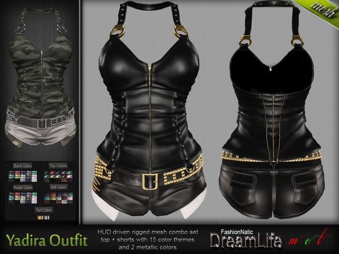 MESH Yadira Belted Short with Corset Top* Rigged (HUD Driven) *DreamLife - FashionNatic*